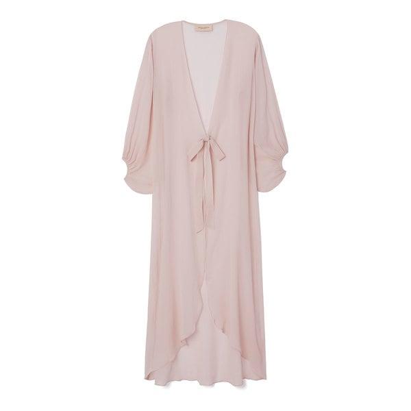 Adriana Degreas Silk Georgette Solid Long Robe