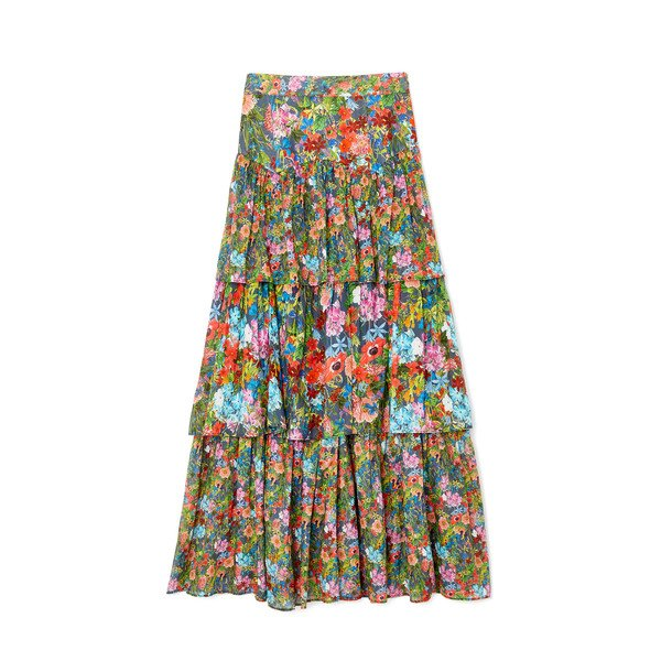Warm Band Floral Cotton Skirt
