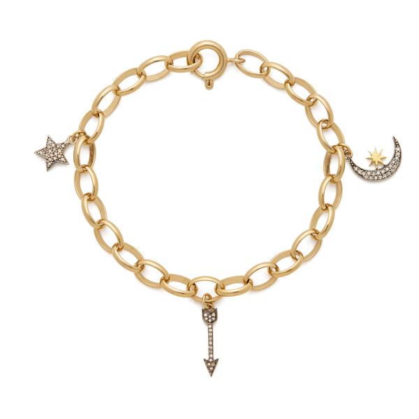 Kirstie Le Marque Gold Bracelet Chain With Pavé Diamond Charms