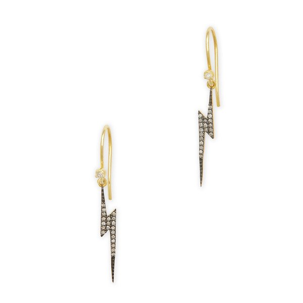 Kirstie Le Marque PAVé DIAMOND LIGHTNING BOLT DANGLE EARRINGS