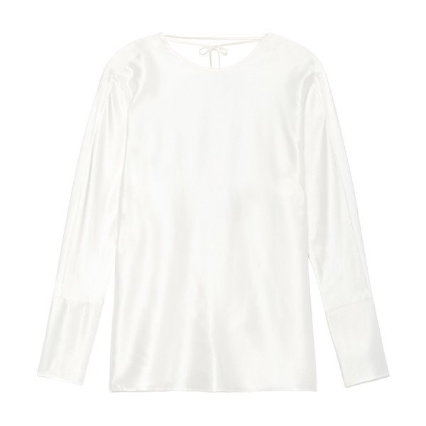 Datura Esther Silk Satin Long-Sleeve Top