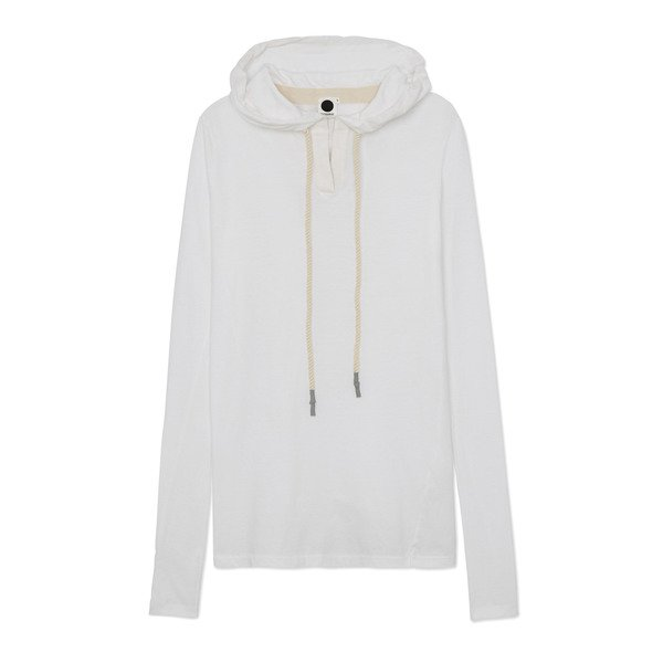 Bassike Jersey Placket-Detail Hooded Top
