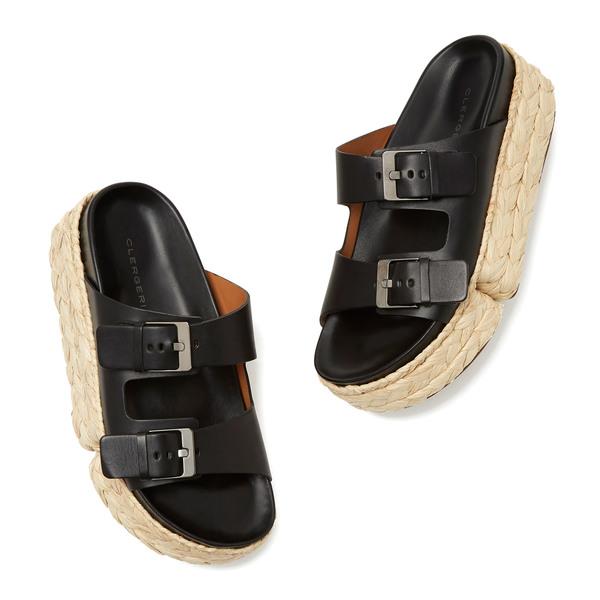 Clergerie Abby Raffia Flatform Sandals