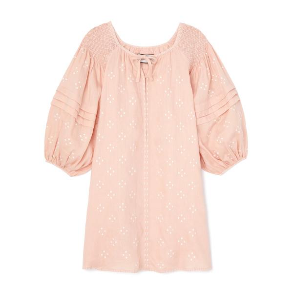 Innika Choo Hans Ufmafrok Smocked Linen Mini Dress