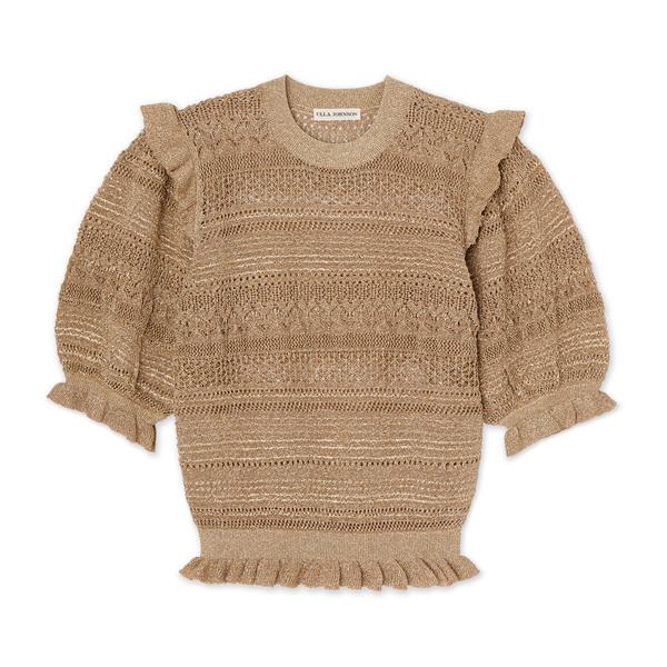 Ulla Johnson Linny Gold Knit Ruffled Top