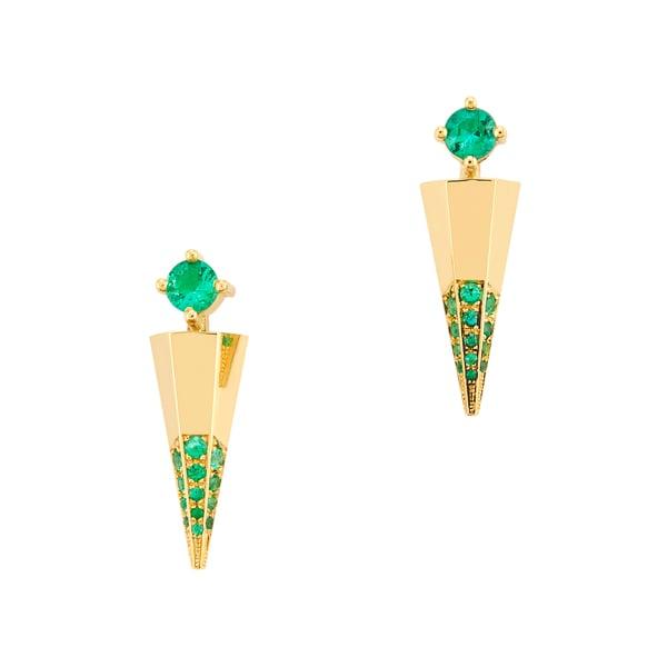 Ark Fine Jewelry Blooming Lotus Emerald Mini Dagger Earrings