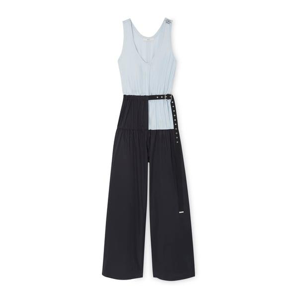 Tibi Tech Poplin Color-Blocked Jumpsuit