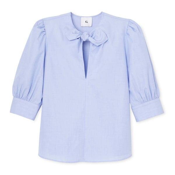 G. Label Peri Tie-Neck Short-Sleeve Shirt