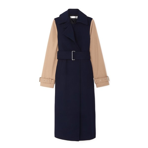 Victoria Beckham Contrast-Sleeve Fitted Coat