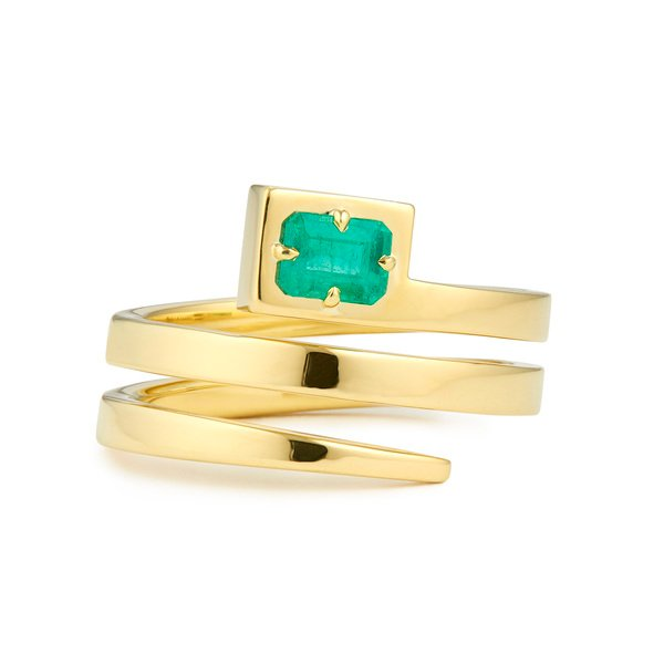 Jemma Wynne Coil Ring With Emerald