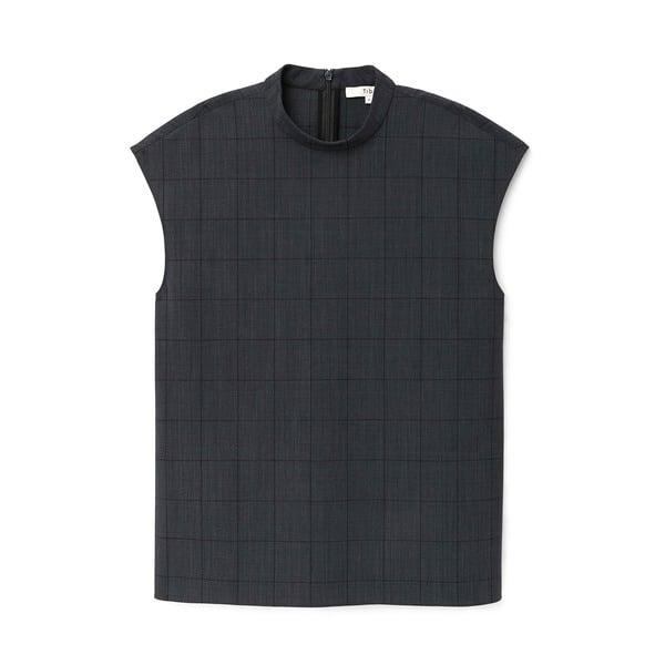 Tibi Menswear Windowpane Mock Sleeveless Top