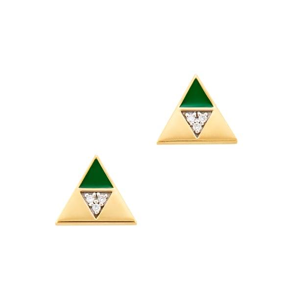 Harwell Godfrey Enamel Diamond Triangle Studs