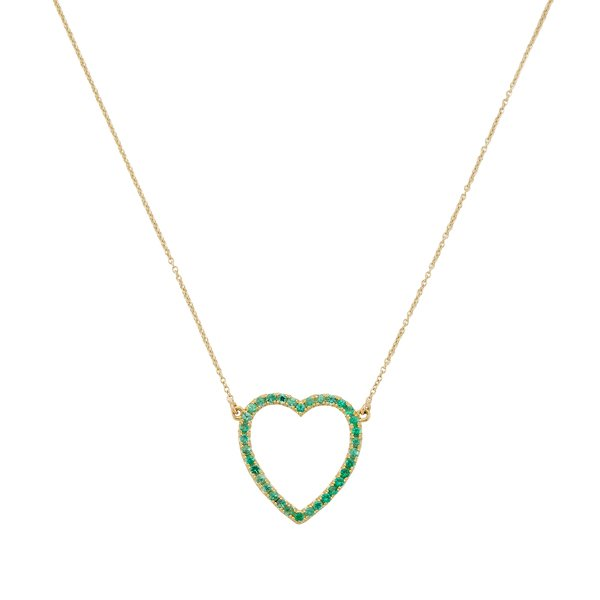 Jennifer Meyer Emerald Large Open Heart Necklace