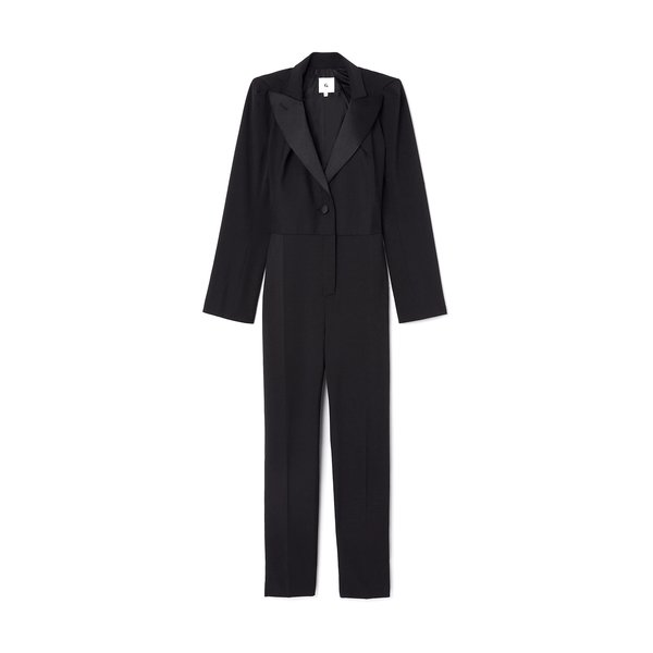 G. Label Willis Puff-Sleeve Tuxedo Jumpsuit
