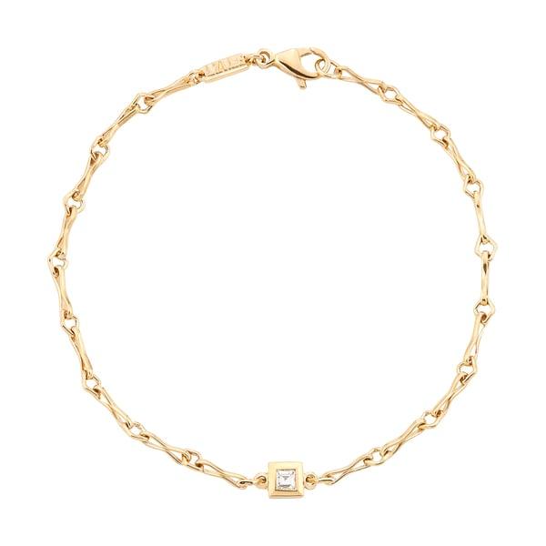 Azlee Small Link Bracelet with Diamond Carré
