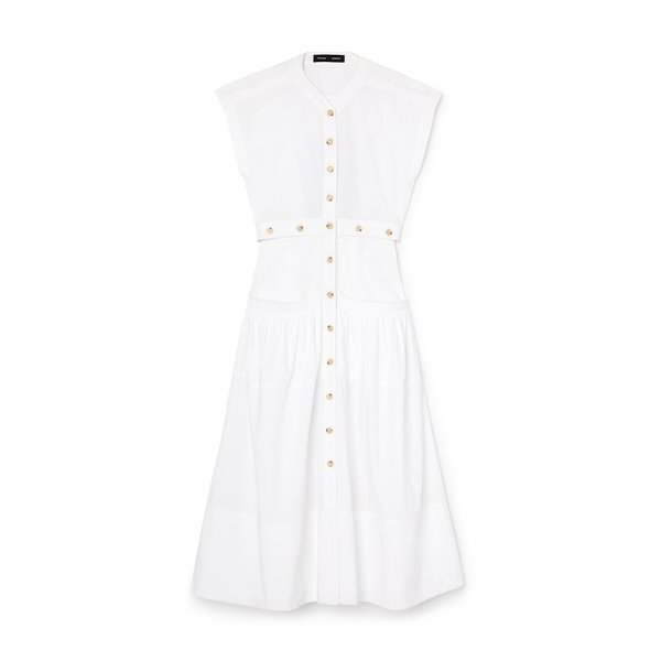 Proenza Schouler Short-Sleeve Buttoned Cotton Dress