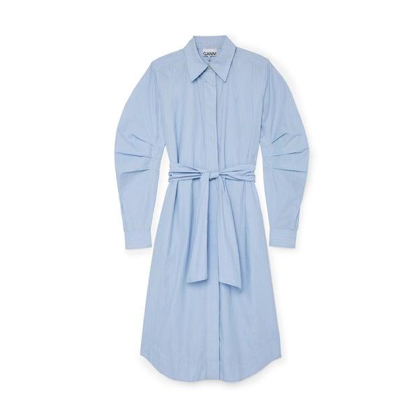 Ganni Striped Cotton Shirtdress