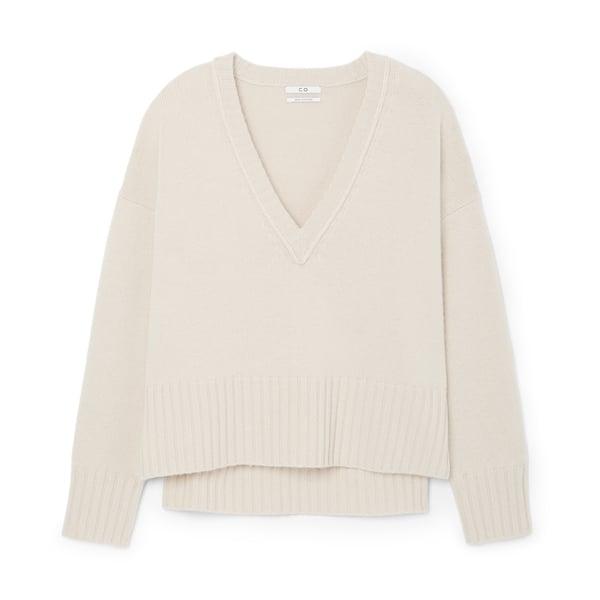 Co V-Neck Split-Hem Sweater