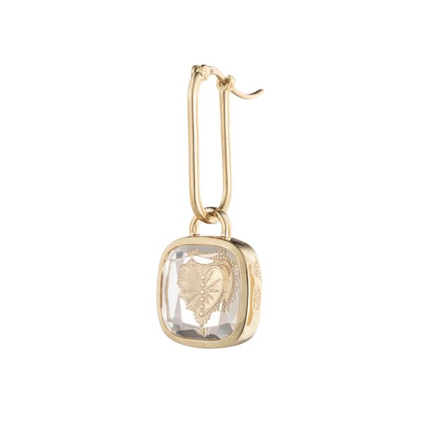 Foundrae Square Gemstone Heart Earrings