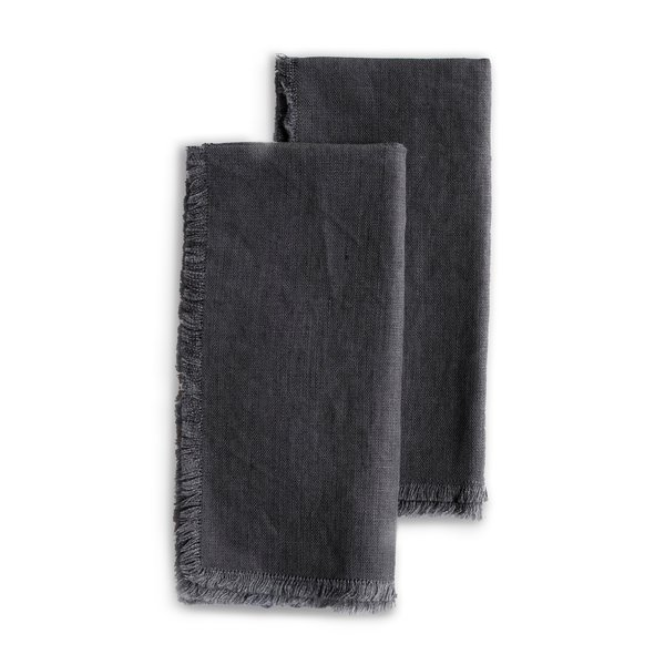 Roman and Williams Guild Fringed Flax Linen Napkin, Set of 2