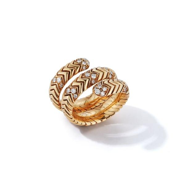 Jill Heller Vintage Jewelry Bulgari Spiga Ring with Diamonds