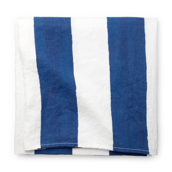 Summerill & Bishop  Blue-and-White-Striped Tablecloth