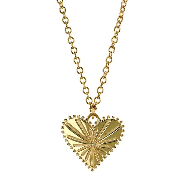 Marlo Laz Pour Toujours Heart Coin Necklace