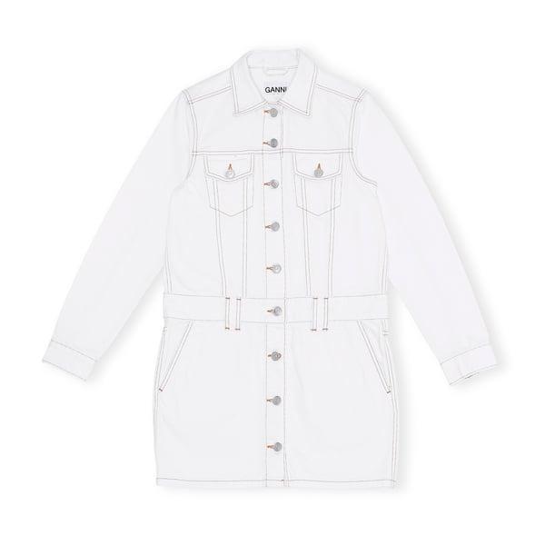 Ganni White Denim Dress