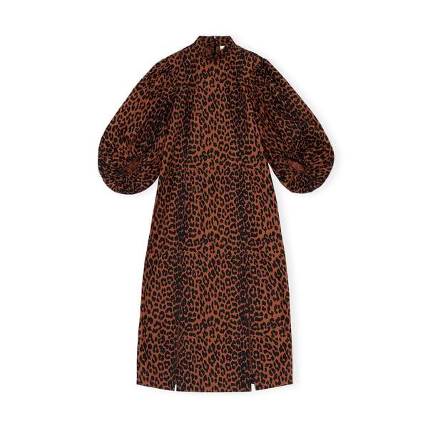 Ganni Leopard Cotton Poplin Dress