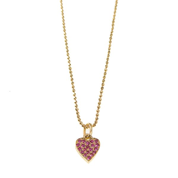 Jennifer Meyer Yellow Gold Ruby Heart Necklace