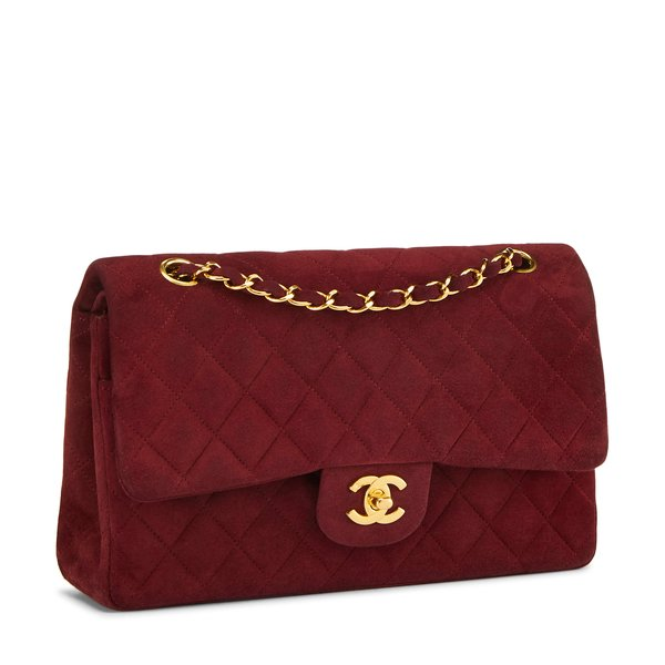 """What Goes Around Comes Around Chanel Burgundy Suede 2.55 10"""""""