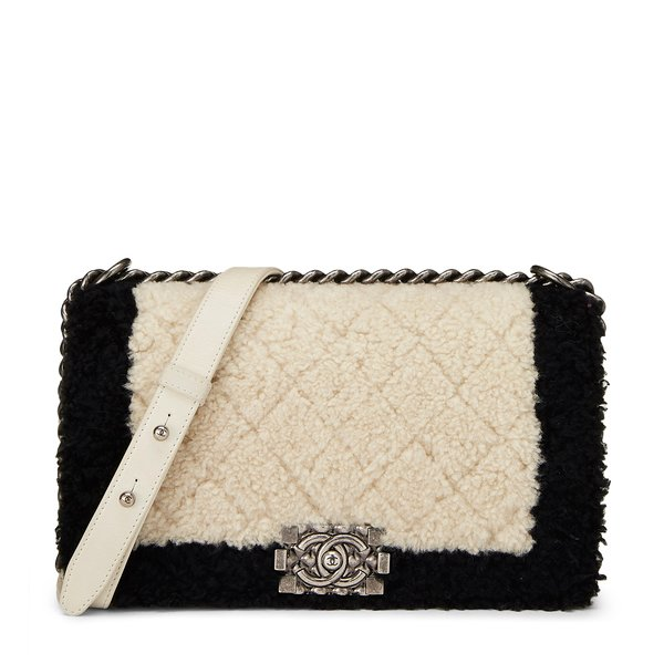 What Goes Around Comes Around Chanel Black Shearling Boy Bag