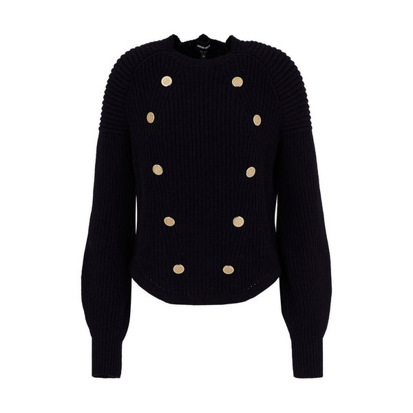 Giorgio Armani Ribbed Sweater with Golden Buttons