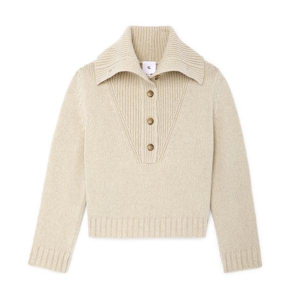 G. Label Corie Button-Collar Sweater