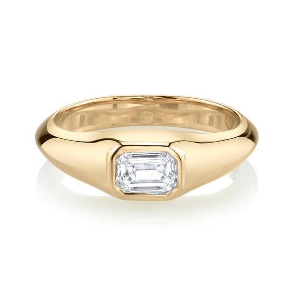 Lizzie Mandler Emerald-Cut Diamond Pinky Ring