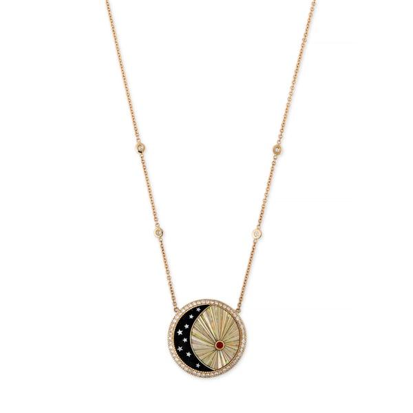 Jacquie Aiche Onyx Crescent Moon Necklace