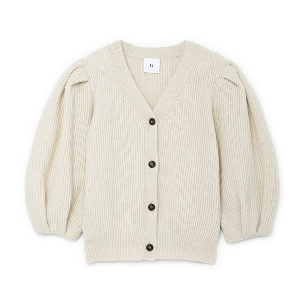 G. Label Foster Ribbed Puff-Sleeve Cardigan