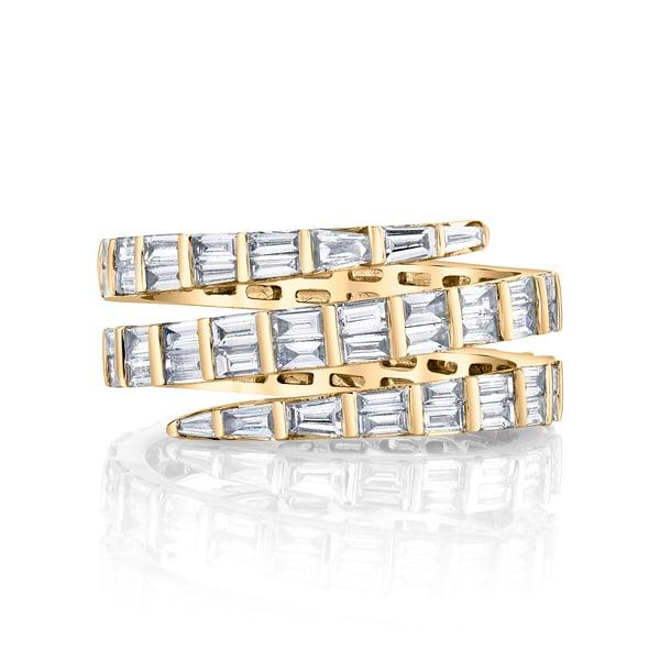 Anita Ko Three-Row Baguette Coil Ring