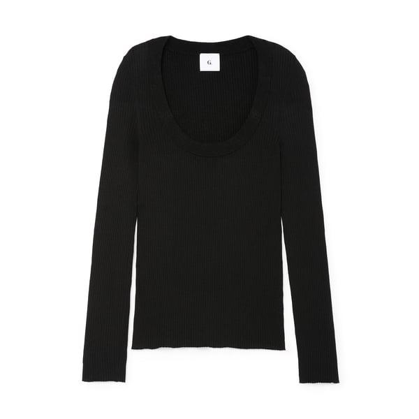 G. Label Marks Slim U-Neck Sweater