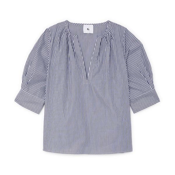 G. Label Vivienne Puff-Sleeve V-Neck Top