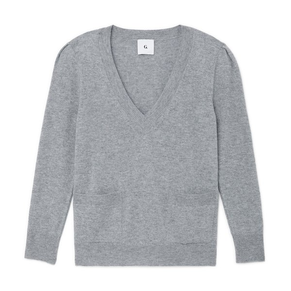 G. Label Dia Puff-Sleeve V-Neck Sweater