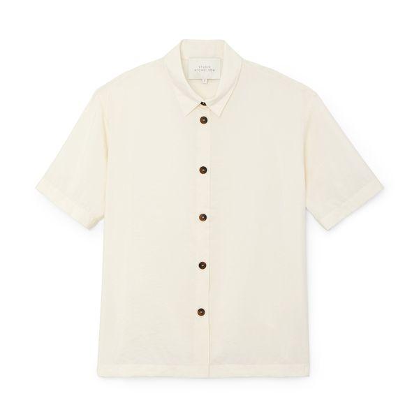 Studio Nicholson Washed Silk Poly Short-Sleeve Shirt