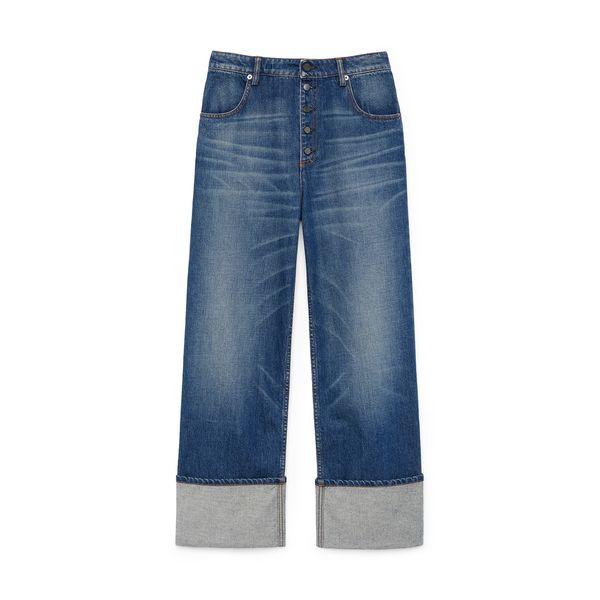 G. Label Nat Button-Fly Boyfriend Jeans