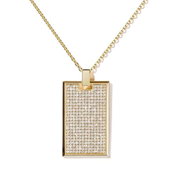 AS29 Large Pavé Diamond Tag Necklace