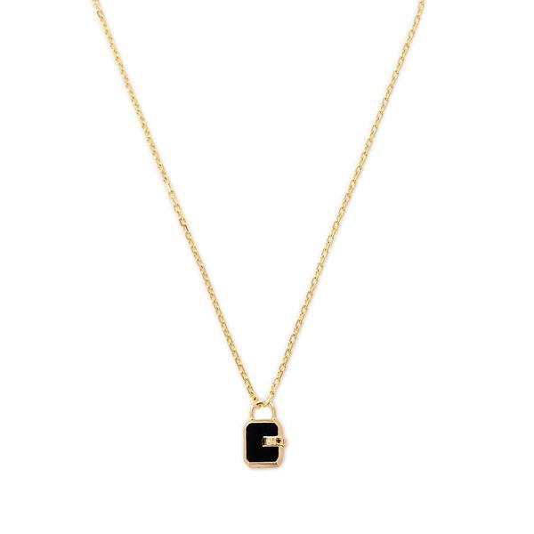 James Banks Design Mini Padlock Onyx Necklace