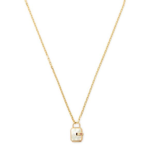 James Banks Design Mini Padlock Mother-of-Pearl Necklace