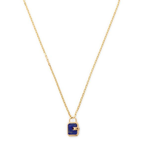 James Banks Design Mini Padlock Lapis Necklace
