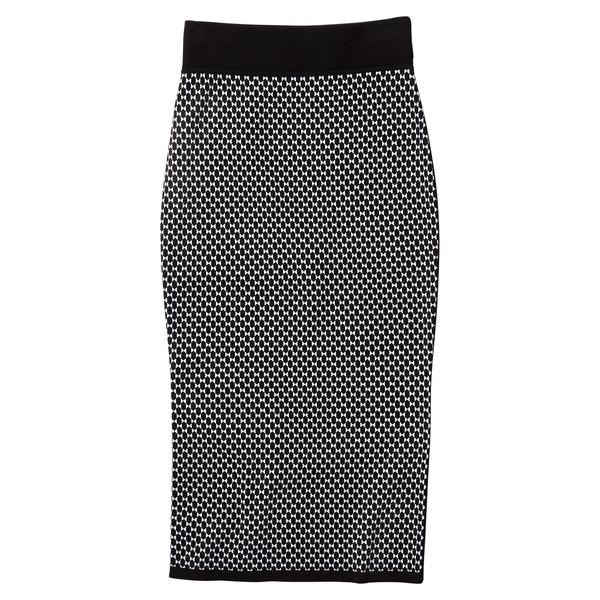 Diamond Jacquard Pencil Skirt