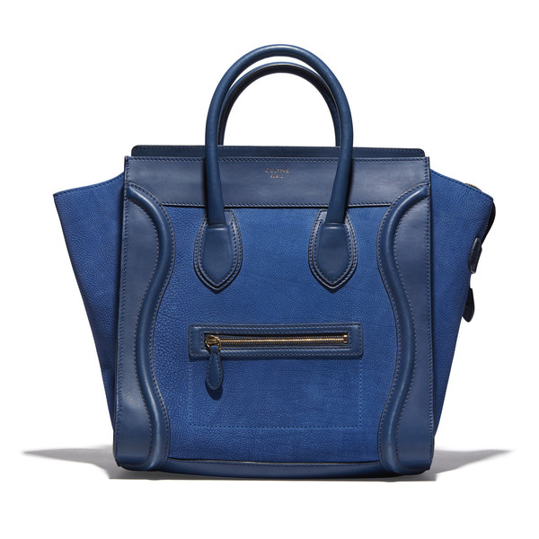 Drew Barrymore's Blue Leather Bag (Mini Luggage Tote)