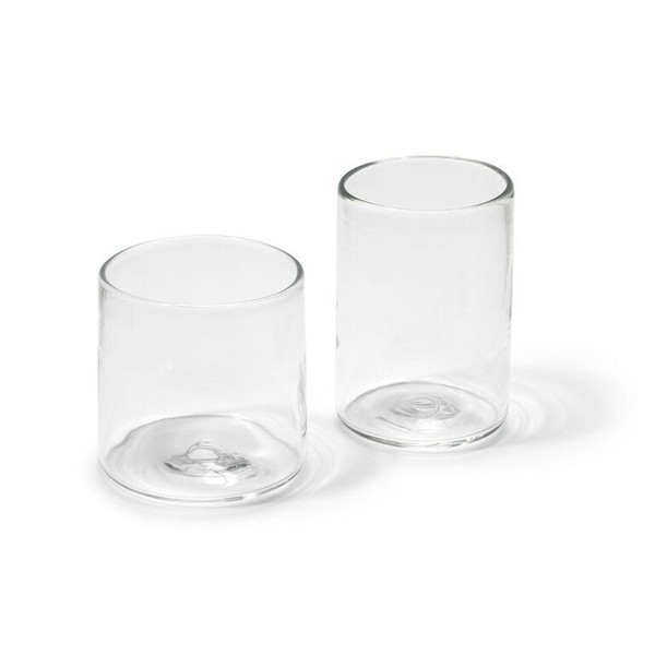 ANDREW O. HUGHES Hand-Blown Double Old Fashion Clear Glass